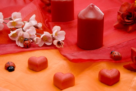 artificially: Marzipan heart with flower branch