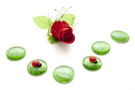 artificially:   Glass stones with rose and beetle