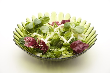 Mixed salad in a glass peel