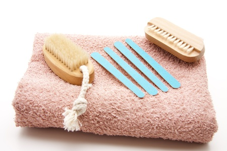 Nail arrows with nailbrush and hand cloth Stock Photo