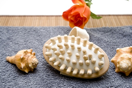 artificially: Massage brush with towelling cloth