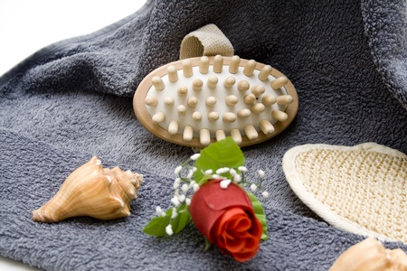 towelling: Rose with massage brush Stock Photo