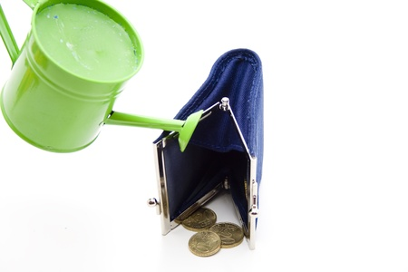 openly: Money bag and watering can