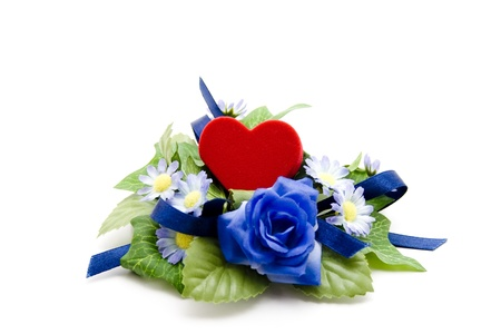 love proof:  Flower arrangement and heart