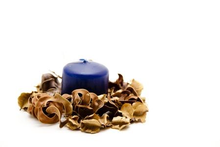 potpourri: Blue candle with potpourri