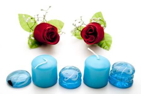 artificially: Wax candles with glass stones