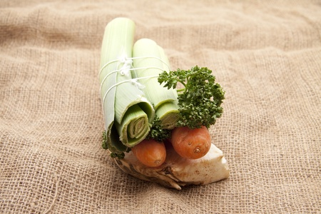 Soup vegetables on burlap bag photo