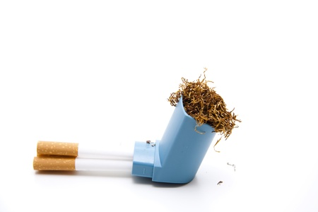 breathlessness:  Tobacco with filter tubes and mouth piece Stock Photo