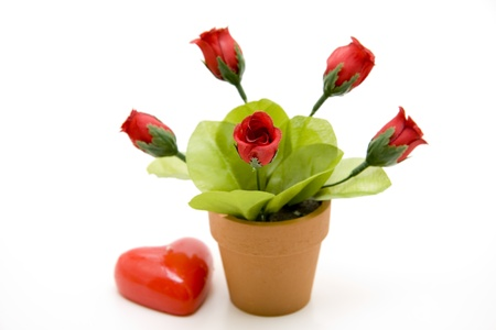 bougie coeur: Roses avec bougie coeur Banque d'images