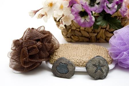 Net sponge with stones photo