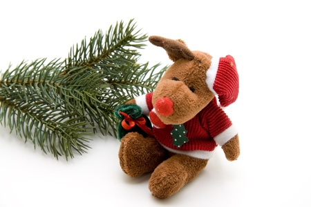 artificially: Soft toy with fir branch