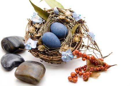 artificially: Bird nest with eggs and stones