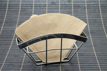 rustproof: Filter paper and filter holder Stock Photo