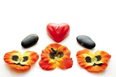 bougie coeur: Fleur fleur avec la bougie coeur Banque d'images