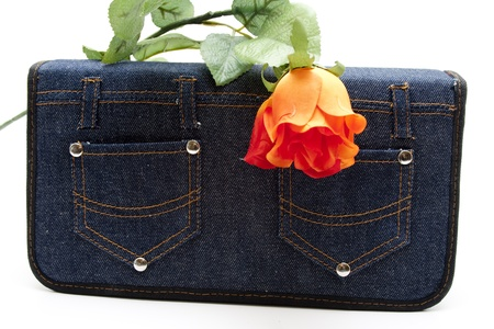 Jeans pocket with rose photo