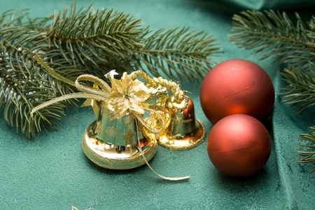 Christmas ball with golden bell photo