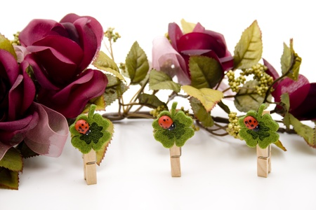 Rose garland with wooden clip Stock Photo - 13039591