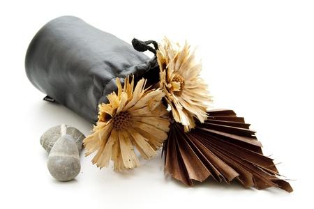 leren tas: Stro bloem in de leren tas