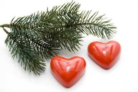 bougie coeur: Branche de sapin avec une bougie coeur