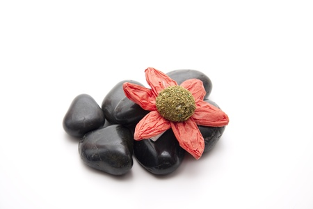 Paper flower with stones Stock Photo