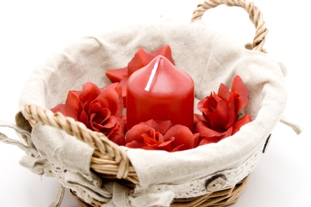 rose bud: Candela con bocciolo di rosa Archivio Fotografico