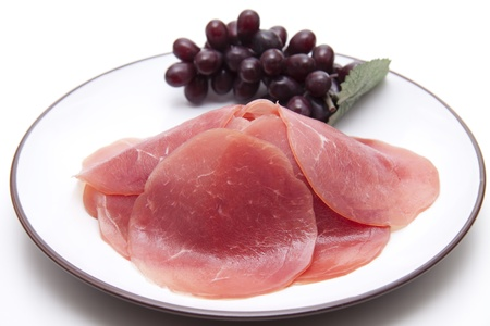 Salmon ham with wine grapes photo