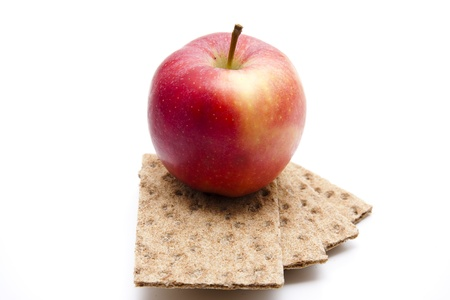calories poor: Crispbread with apple Stock Photo