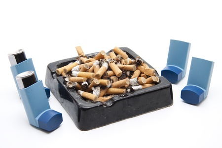 breathlessness: Ashtray with lung spray