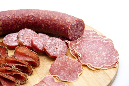 pepper salami: Pepper salami and garlic sausage Stock Photo