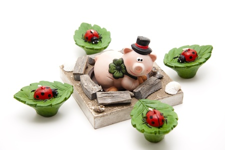 Luck pig  and candle Stock Photo - 13451811