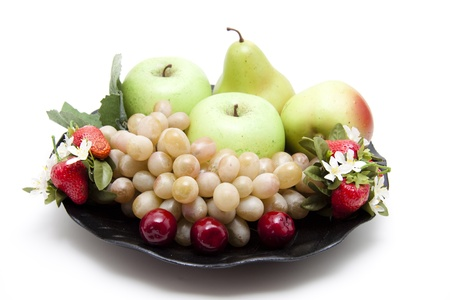 Fruit on black plate Stock Photo - 13755409