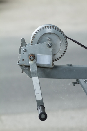 hand crank: Follower pole with hand crank Stock Photo