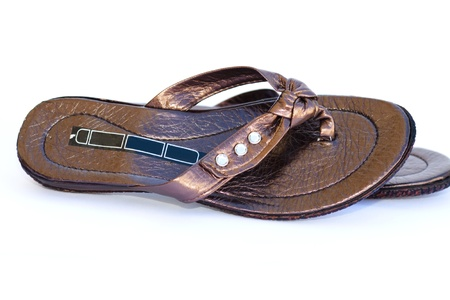 openly: Sandals on white background Stock Photo