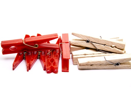 Plastic and wooden clips Stock Photo - 17310523
