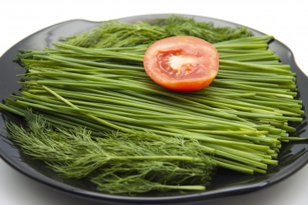 Dill and cut of leek and tomato photo