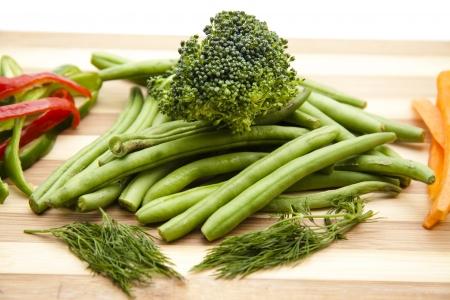 green beans: Jud�as verdes con br�coli