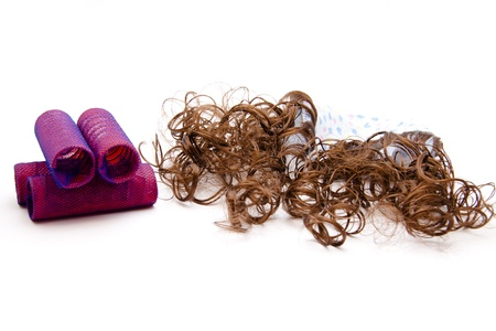hairpiece:  Locks roller with hair Stock Photo