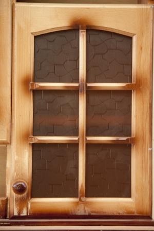 kitchen cupboard: Wooden window of the kitchen cupboard  Stock Photo