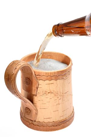 froth: wooden mugs for beer on white background