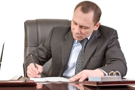 man has a good mood signature documents Stock Photo - 2511395