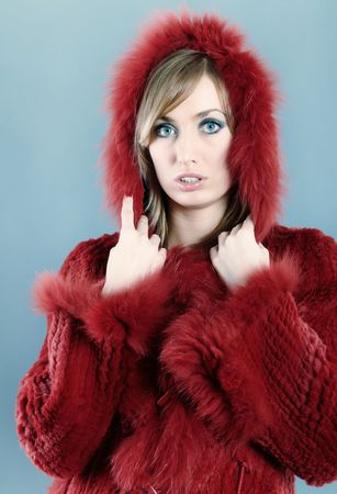 A beautiful blond fashion model looks over wearing a fur lined hooded winter coat Stock Photo - 6352654