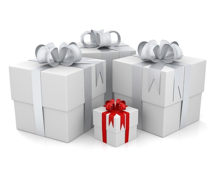 Four gift boxes, one with a red ribbon. 3D rendering photo