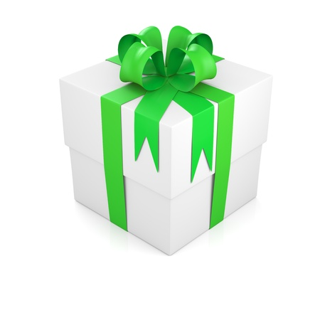 Gift box tied with green ribbon. 3D rendering photo