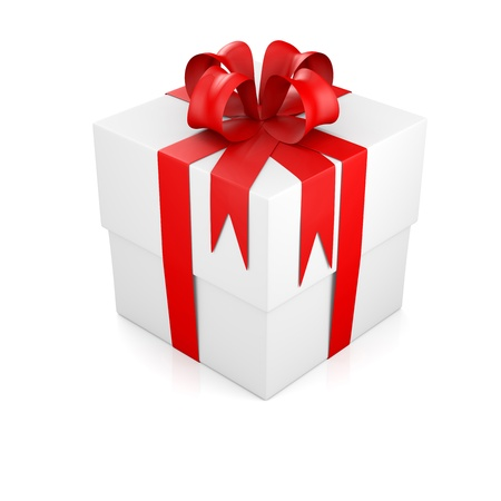 Gift box tied with red ribbon. 3D rendering photo