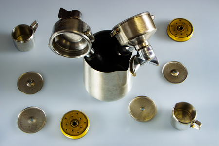 Filter holder of professional coffee machine with tamped coffee