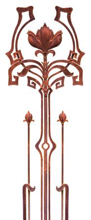 Forged flower decorative element gates Hammered . Stock Photo