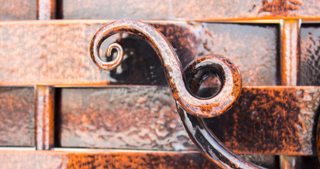 close-up of forged element, vintage fence Stock Photo