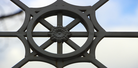 close up of forged element vintage fence