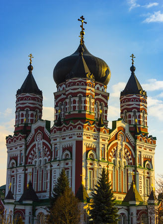 Beautiful Orthodox Church, St. Panteleimon Cathedral, Cathedral Area The Feofaniya Park is one of the most beautiful places in Kiev, the capital of Ukraine. Stock Photo