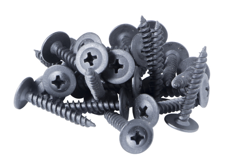 screws, bunch, isolate on a white background, mounting bolts close-up